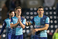 Dominic Gape of Wycombe Wanderers & Matt Bloomfield of Wycombe Wanderers during the Sky Bet League 2 match between Wycombe Wanderers and Hartlepool United at Adams Park, High Wycombe, England on 26 November 2016. Photo by Andy Rowland / PRiME Media Images.