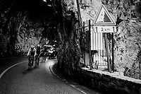 race leaders emerging from a tunnel on their way to the finish<br /> <br /> 76th Paris-Nice 2018<br /> Stage 7: Nice &gt; Valdeblore La Colmiane (175km)