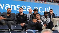 (L-R) Swansea players Kyle Bartley, Matt Grimes, assistant coach Nigel Gibbs, players Leroy Fer, Wayne Routledge and Nathan Dyer watch the game during the Swansea Legends v Manchester United Legends at The Liberty Stadium, Swansea, Wales, UK. Wednesday 09 August 2017