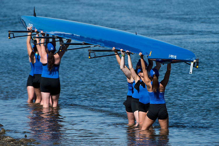 May 14, 2016; Gold River, CA, USA; II Eight Creighton Blue Jays during the WCC Rowing Championships at Lake Natoma.