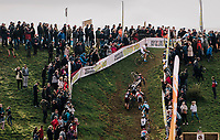German national champion Marcel Meisen (DEU/Corendon–Circus) riding all the way up the climb everybody else needs to run up....<br /> <br /> GP Mario De Clercq / Hotond cross 2018 (Ronse, BEL)