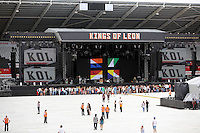 Pictured: The empty stadium before the gig. Wednesday 02 July 2014<br /> Re: Kings of Leon at the Liberty Stadium, Swansea, south Wales.