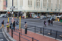 South Africa, Cape Town.  City Center Street Corner, Adderley and Riebeek.