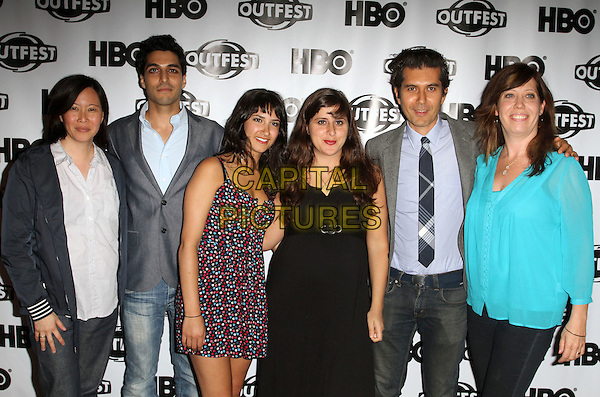 "Kim Yutani, Keon Mohajeri, Nikohl Boosheri, director Maryam Keshavarz, Reza Sixo Safai, Kirsten Schaffer..The 29th Annual Gay & Lesbian Film Festival Screening Of ""Circumstances""  Held At The DGA Theatre, West Hollywood, California, USA..July 12th, 2011.half length jacket jeans denim blue shirt turquoise grey gray dress black print.CAP/ADM/KB.©Kevan Brooks/AdMedia/Capital Pictures."