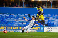 Saturday 25 January 2014<br /> Pictured: Mitch Hancox of of Birmingham City  tries to get to the ball before Wilfried Bony of Swansea<br /> Re: Birmingham City v Swansea City FA Cup fourth round match at St. Andrew's Birimingham