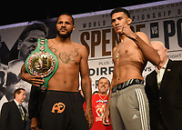 LOS ANGELES - SEPTEMBER 27: Anthony Dirrell and David Benavidez attend the weigh-in for their September 28 fight on the Fox Sports PBC Pay-Per-View fight night on September 27, 2019 in. Los Angeles, California. (Photo by Frank Micelotta/Fox Sports/PictureGroup)