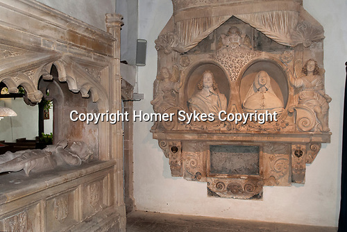 Rodney Stoke, Church of St Leonard, Somerset UK. The Rodney Chapel built as family mausoleum by Sir John Rodney who lived about 1461 - 1527. Shown here Sir Edward and Lady Rodney. He died 1657 she in 1659