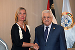 Palestinian President Mahmoud Abbas, meets with  EU High Representative Mogherini in New York, United States on September 25, 2019. Photo by Thaer Ganaim
