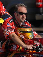 Nov 1, 2007; Pomona, CA, USA; NHRA pro stock motorcycle rider Matt Smith during qualifying for the Auto Club Finals at Auto Club Raceway at Pomona. Mandatory Credit: Mark J. Rebilas-US PRESSWIRE