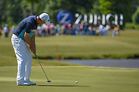 Padraig Harrington (IRL) sinks his birdie putt on 17 during Round 1 of the Zurich Classic of New Orl, TPC Louisiana, Avondale, Louisiana, USA. 4/26/2018.<br /> Picture: Golffile | Ken Murray<br /> <br /> <br /> All photo usage must carry mandatory copyright credit (&copy; Golffile | Ken Murray)
