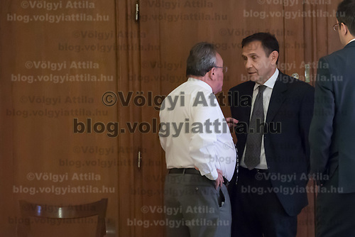 Tamas Gyarfas (C) vice-president of FINA swimming association and his lawyer Janos Banati (L) wait for ruling a court ruling connected to his arrest in a murder case in Budapest, Hungary on April 20, 2018. ATTILA VOLGYI