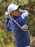 JEJU, SOUTH KOREA - APRIL 24:  Anthony Kim of USA tees off on the 15th hole during the Round Two of the Ballantine's Championship at Pinx Golf Club on April 24, 2010 in Jeju island, South Korea. Photo by Victor Fraile / The Power of Sport Images