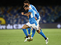 25th July 2020; Stadio San Paolo, Naples, Campania, Italy; Serie A Football, Napoli versus Sassuolo; Elseid Hysaj of Napoli celebrates after scoring his goal in the 8th  minute for 1-0 with Fabián Ruiz Peña