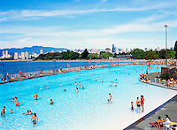 Kitsilano Outdoor Swimming Pool, Vancouver, BC, British Columbia, Canada - English Bay and Coast Mountains beyond