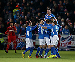Queens celebrate the opening goal