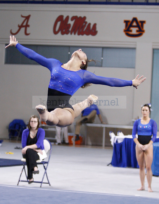 Sophomore Kayla Sienkowski performs her floor routine during the University of Kentucky gymnastics meet against the University of Alabama, in Memorial Coliseum, on Friday, Feb. 10, 2012. Photo by Latara Appleby | Staff ..