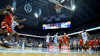 CHAPEL HILL, NC - JANUARY 11: Aamir Simms #25 of Clemson University makes the game-tying three pointer with four seconds left in regulation during a game between Clemson and North Carolina at Dean E. Smith Center on January 11, 2020 in Chapel Hill, North Carolina.