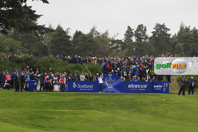 Ally McDonald of Team USA on the 2nd tee during Day 2 Fourball at the Solheim Cup 2019, Gleneagles Golf CLub, Auchterarder, Perthshire, Scotland. 14/09/2019.<br /> Picture Thos Caffrey / Golffile.ie<br /> <br /> All photo usage must carry mandatory copyright credit (© Golffile | Thos Caffrey)