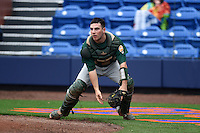 Siena Saints catcher Patrick Ortland (27) checks the runner during the second game of a doubleheader against the Michigan Wolverines on February 27, 2015 at Tradition Field in St. Lucie, Florida.  Michigan defeated Siena 6-0.  (Mike Janes/Four Seam Images)