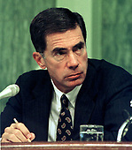 United States Senator Chuck Robb (Democrat of Virginia) listens to US Army General Henry H. Shelton's  testimony at Shelton's confirmation hearing to be Chairman of the Joint Chiefs of Staff on Capitol Hill in Washington, D.C. on September 9, 1997.<br /> Credit: Ron Sachs / CNP