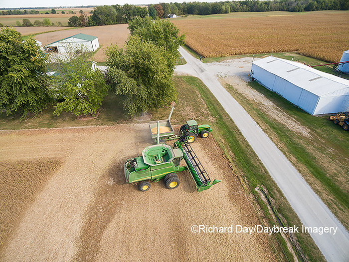 63801-08710 Soybean Harvest, unloading soybeans into grain cart John Deere- aerial - Marion Co. IL