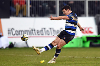 Freddie Burns of Bath Rugby kicks for the posts. Anglo-Welsh Cup match, between Bath Rugby and Newcastle Falcons on January 27, 2018 at the Recreation Ground in Bath, England. Photo by: Patrick Khachfe / Onside Images