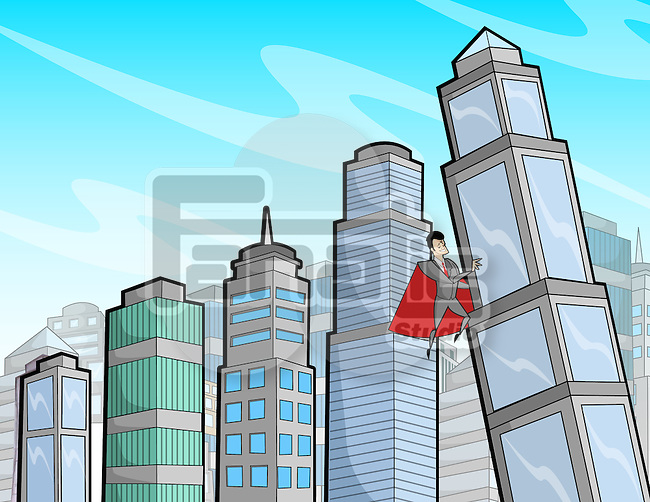 Business super hero supporting a falling building