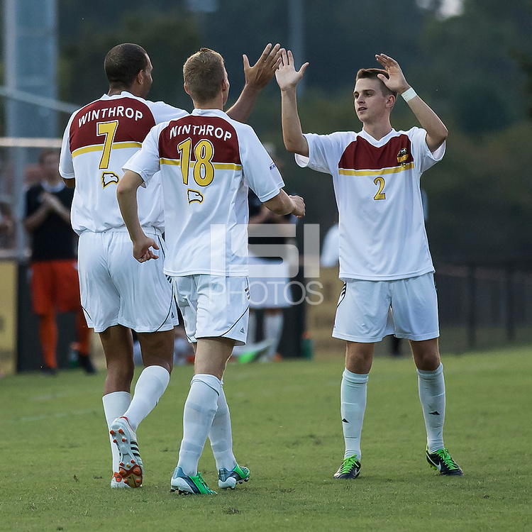 Winthrop University Eagles vs the Brevard College Tornados at Eagle's Field in Rock Hill, SC.  The Eagles beat the Tornados 6-0.  Eagles players celebrate a goal, they scored four in the first ten minutes of the game.