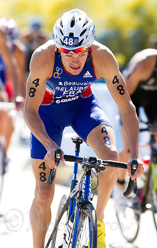 04 JUN 2011 - MADRID, ESP - Frederic Belaubre climbs the hill during the Madrid round of triathlon's ITU World Championship Series  (PHOTO (C) NIGEL FARROW)