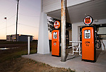 Provine/Hamons Station (Phillips 66 gas station) on Historic Route 66 with auto court, Hydro, Oklahoma...Over the Drive design of station--Orange gas pumps: 26.9¢ per gallon