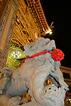 Donggang, Taiwan -- Lion statue at the main gate of Donglong Temple.