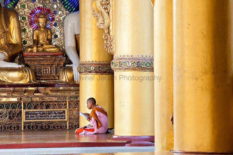 Buddhist nun at the buddhist temple in Yangon
