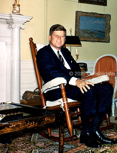 United States President John F. Kennedy photographed in his rocking chair in the Yellow Oval Room of the White House in Washington, D.C. on March 19, 1962. .Mandatory Credit: Robert L. Knudsen - White House via CNP