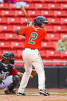 Noah Perio #2 of the Greensboro Grasshoppers at bat against the Hickory Crawdads at L.P. Frans Stadium on May 18, 2011 in Hickory, North Carolina.   Photo by Brian Westerholt / Four Seam Images