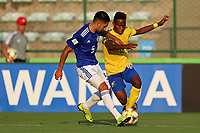 31st October 2019; Bezerrao Stadium, Brasilia, Distrito Federal, Brazil; FIFA U-17 World Cup Brazil 2019, Solomon Islands versus Paraguay; Raphael Leai of Solomon Islands and Rolando Ortiz of Paraguay - Editorial Use