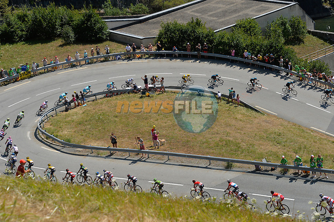 The Yellow Jersey group descend during Stage 20 of the 2015 Tour de France running 110.5km from Modane Valfrejus to Alpe d'Huez, France. 25th July 2015.<br /> Photo: ASO/B.Bade/Newsfile
