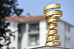 The Trofeo Senza Fine on display at sign on before the start of Stage 18 of the 2018 Giro d'Italia, running 196km from Abbiategrasso to Prato Nevoso, Italy. 24th May 2018.<br />