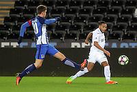 Pictured: Kenji Gorre of Swansea (R) Tuesday 28 February 2017<br /> Re: Premier League International Cup, Swansea City U23 v Hertha Berlin II at at the Liberty Stadium, Swansea, UK