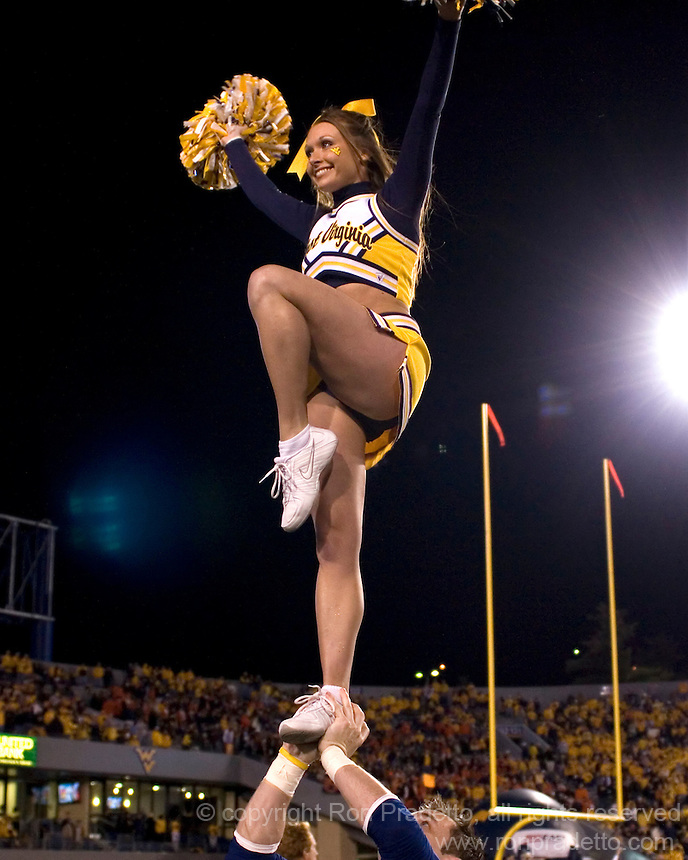 October 23, 2008: West Virginia cheerleader. The West Virginia Mountaineers defeated the Auburn Tigers 34-17 on October 23, 2008 at Mountaineer Field, Morgantown, West Virginia.