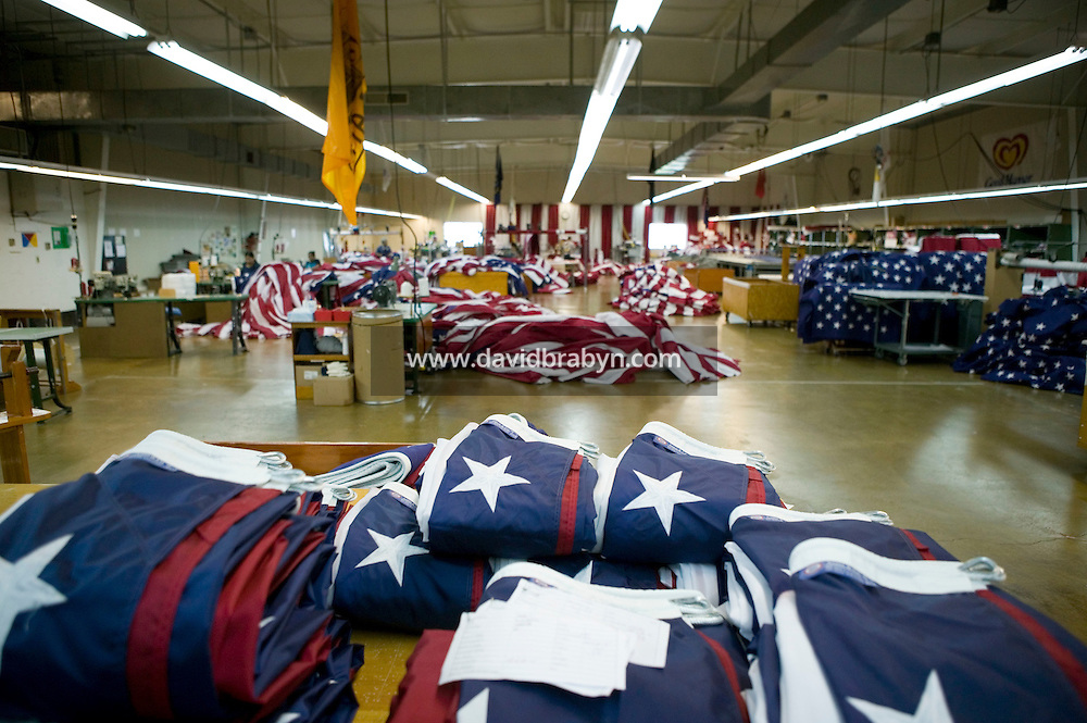21 June 2005 - Oaks, PA - View of a workshop during lunch break at the Annin & Co. flag manufacturing plant in Oaks, PA. Photo Credit: David Brabyn.