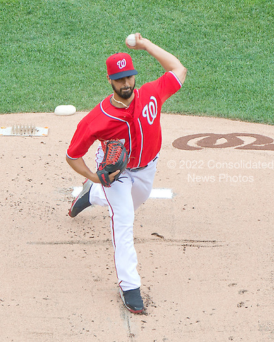 Washington Nationals pitcher Gio Gonzalez (47) works in the first inning against the Milwaukee Brewers at Nationals Park in Washington, D.C. on Sunday, July 20, 2014.  The Nationals won the game 5 - 4.<br /> Credit: Ron Sachs / CNP