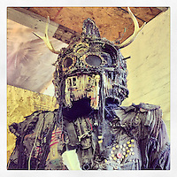 """Nathanial Gertner spent years working on this eight foot monster scultpture. I photographed it at his """"Super Art Give-away"""" at his studio in the Kensington section of Philadelphia, February 23, 2013."""