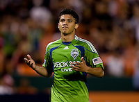 Fredy Montero. The Seattle Sounders defeated DC United, 2-1, to win the 2009 Lamr Hunt U.S. Open Cup at RFK Stadium in Washington, DC.