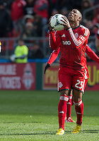 20 April 2013: Toronto FC defender Jeremy Hall #25 appeals to a higher court during the second half in an MLS game between the Houston Dynamo and Toronto FC at BMO Field in Toronto, Ontario Canada..The game ended in a 1-1 draw...