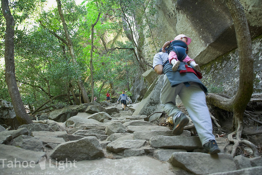 Hiking with baby in backpack above Vernal Falls, Yosemite Valley