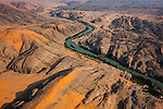 Namibia, Namib Desert, aerial view of Kunene River, border between Namibia and Angola