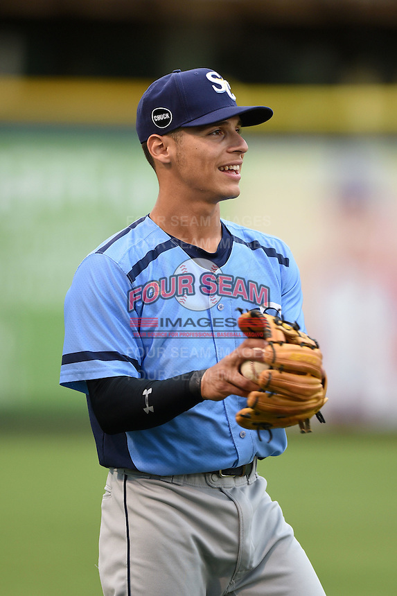 Charlotte Stone Crabs shortstop Andrew Velazquez (1) warms up before a game against the Bradenton Marauders on April 20, 2015 at McKechnie Field in Bradenton, Florida.  Charlotte defeated Bradenton 6-2.  (Mike Janes/Four Seam Images)