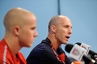 United States (USA) men's national team head coach Bob Bradley addresses the media during a press conference at PPL Park in Chester, PA, on October 11, 2010.