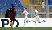 Napoli&rsquo;s Dries Mertens, center, celebrates after scoring his second goal during the Italian Serie A football match between Roma and Napoli at Rome's Olympic stadium, 4 March 2017. <br /> UPDATE IMAGES PRESS/Isabella Bonotto