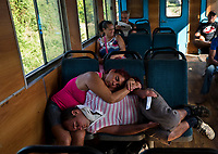 HAVANA, CUBA - FEBRUARY 8: Cubans sleep during a trip to La Havana on February 8, 2018 in Cuba. Ferrocarriles de Cuba, is one of the oldest railroad around world, having opened its first route in 1837 with at least 17-mile long. Now the railway probably could cover more than 2,600 miles along the Island.   (Photo by Eliana Aponte/VIEWpress)